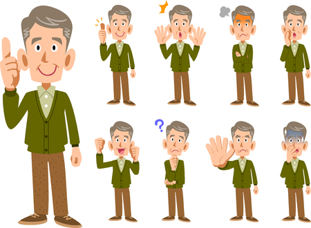 Elderly man Men expression and pose set 9 types Stock Illustratie