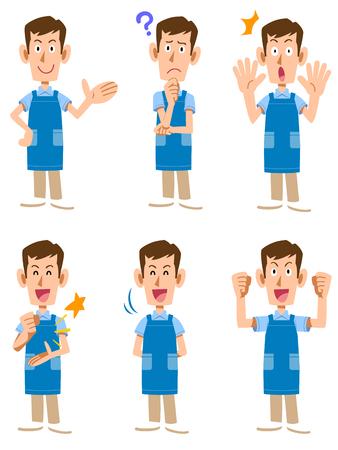 A caregiver wearing an apron ? a fathers man
