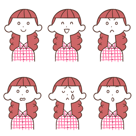 Six different facial expressions of women in checkered shirt
