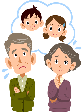 An old couple who is worried about grandchildren Banque d'images - 106588722