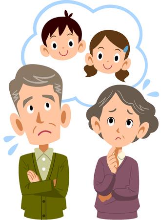 Una pareja de ancianos preocupada por sus nietos. Ilustración de vector