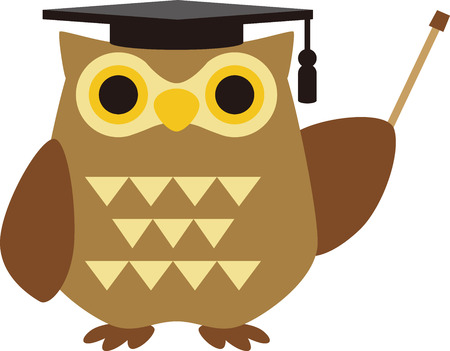 Illustration of an owl wearing a square hat with a pointing rod