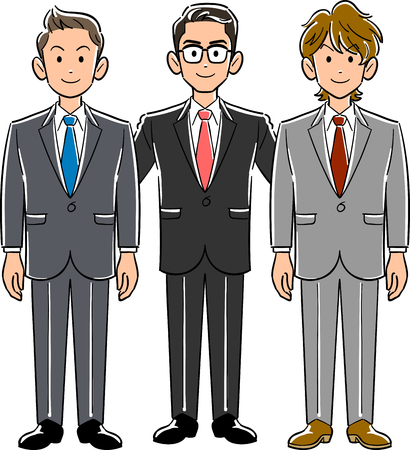 Three businessmen, superiors and subordinates