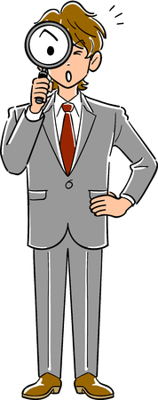 Businessmen with magnifying glasses