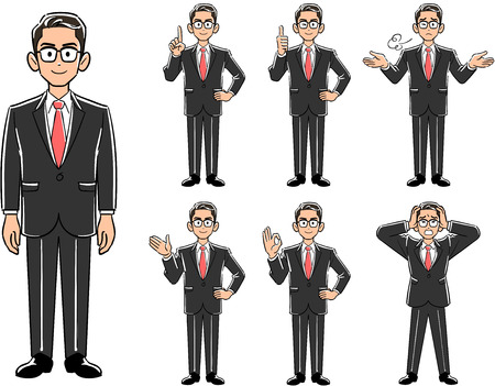 Posing business glasses wearing glasses _ Set of 7 types Vectores