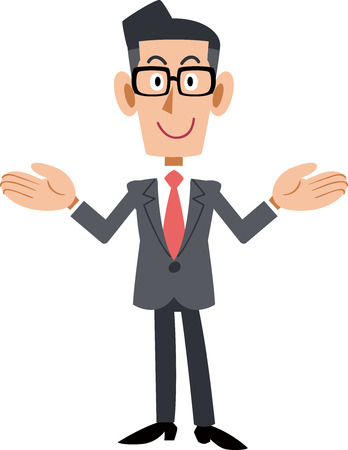 A businessman wearing glasses that spreads both hands