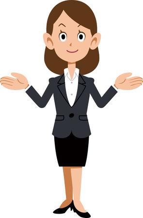 Mujer de negocios extendiendo ambas manos Ilustración de vector