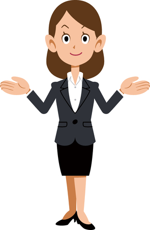 Business woman spreading both hands Illustration