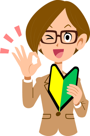 Businesswoman glasses with a novice mark on the left hand and OK sign on the right hand Illustration