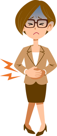 Business woman glasses holding abdomen due to abdominal pain