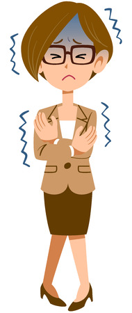 Work women wearing suits symptoms of illness cold glasses Illustration