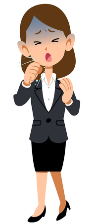 Work women wearing suits Symptoms of illness Cough cold Vector Illustration