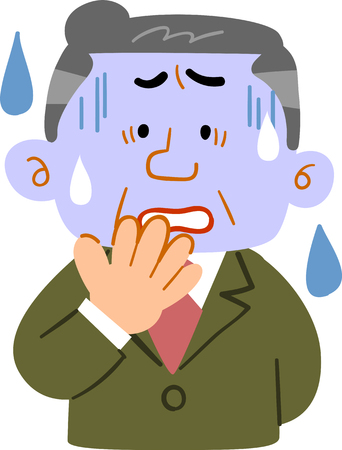Middle-aged man looking worried Illustration
