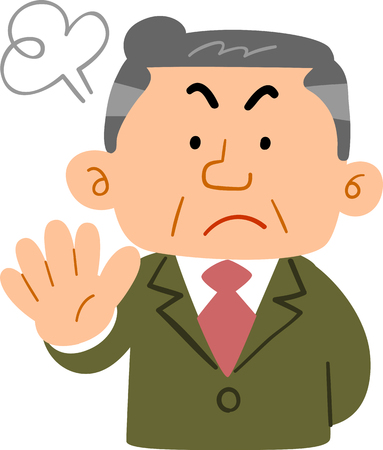 Middle-aged man in a suit showing denial work  イラスト・ベクター素材