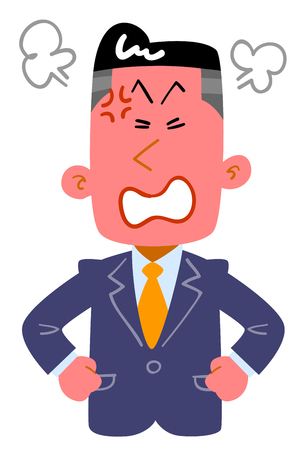 A young businessman is angry Illustration