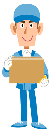 Male staff in work clothes with cardboard box