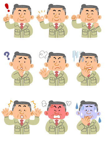 Middle aged man in work clothes upper body 9 types of expression and pose set