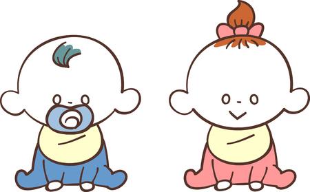 Babies set of boy and girl  イラスト・ベクター素材