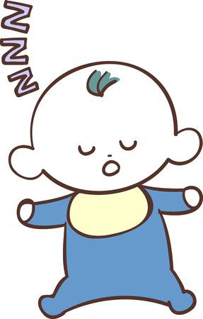 Cute baby boy in blue clothes boy sleep sleeping  イラスト・ベクター素材
