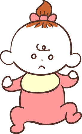 Cute baby girl in red clothes, bad mood Illustration