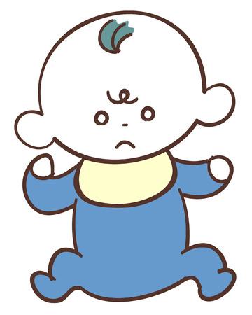Cute baby in blue clothes boy bad mood