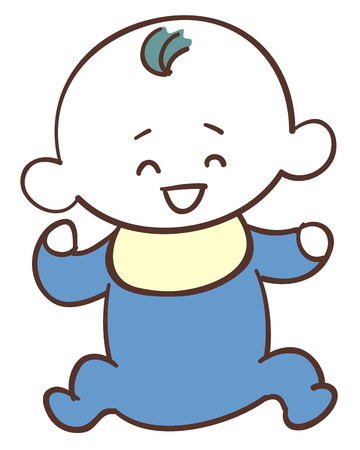 Cute baby wearing blue clothes, boy smiling face