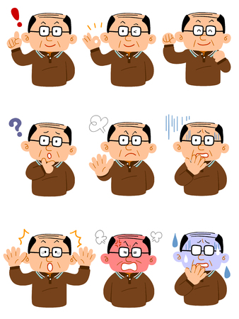 9 pairs of middle-aged men wearing eyeglasses wearing eyeglasses Set of facial expressions upper body