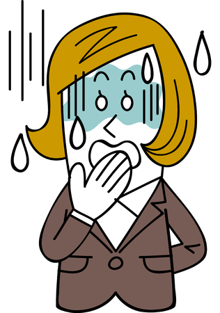 A female employee in a suit turns pale Illustration