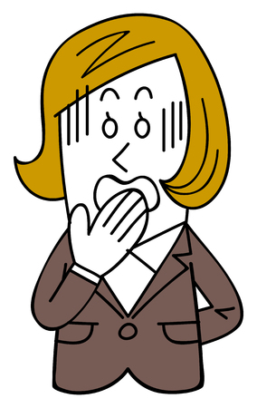 A female employee in a suit gets impatient, a slip of the tongue, Failure Stock Vector - 111428500