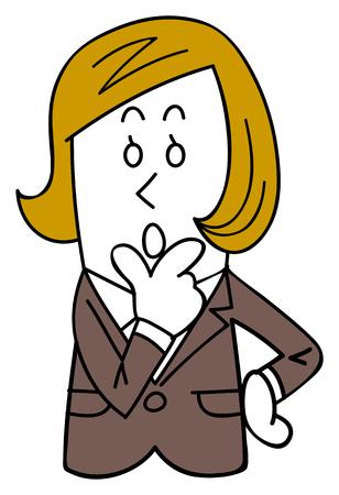 A female employee in a suit thinks Ilustração