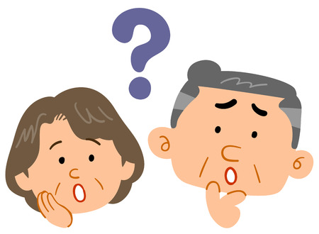 Senior couple feeling Worried and Anxious Illustration