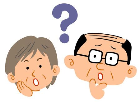 Senior couple feeling doubtful Worried and anxiety
