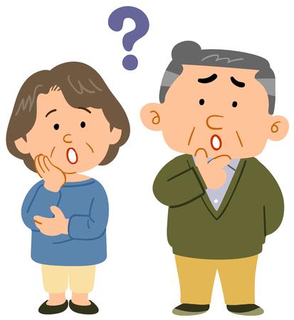 Senior couple feeling  worry Illustration
