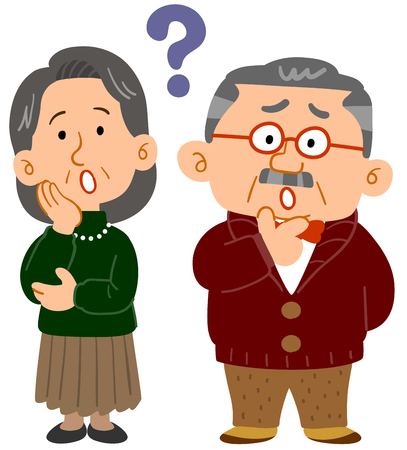 Senior couple feeling   worry Illustration