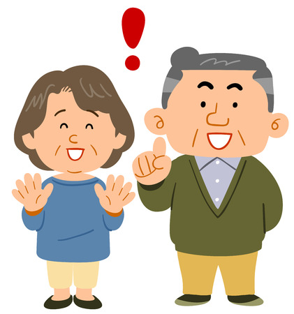 Senior couple facial expression 矢量图像