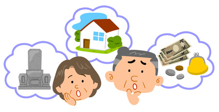 Senior couple Anxiety about retirement Middle-aged facial expression Illustration