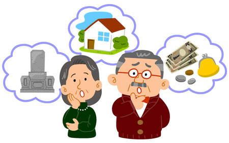 Senior couple Anxiety in old age Middle age upper body  イラスト・ベクター素材