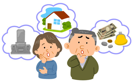 Senior couple Anxiety in old age Middle age upper body Stock Illustratie