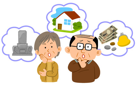 Senior couple Anxiety in old age Middle age upper body Illustration