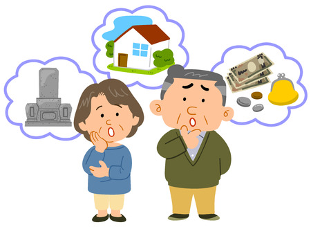 Senior couple Anxiety in old age Middle age whole body