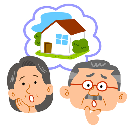 Middle-aged couple consultation facial expressions concerning housing 向量圖像