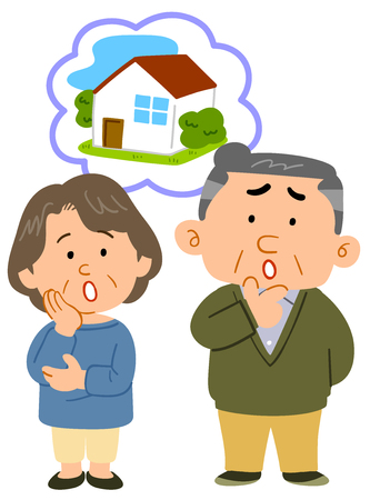 Middle-aged married couple consultation full of trouble about housing Illustration