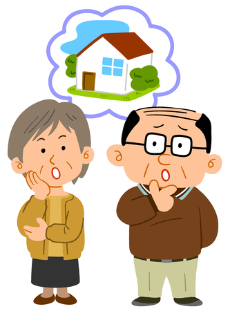 Middle-aged married couple consultation full of trouble about housing Vettoriali
