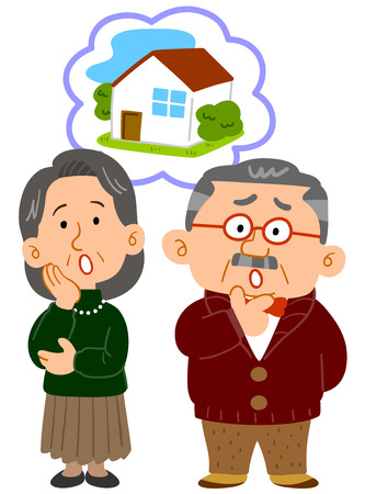 Middle-aged married couple consultation full of trouble about housing Ilustração