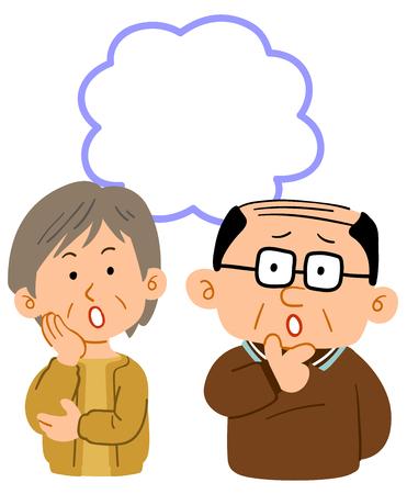 Senior couples trouble Worst body copy space Illustration