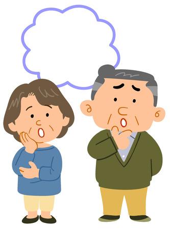 Senior couples worry whole body copy space Illustration