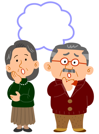 Senior couple's worry whole body copy space 向量圖像