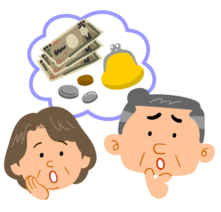Senior couple's money troubles face expression Stock Vector - 127329988