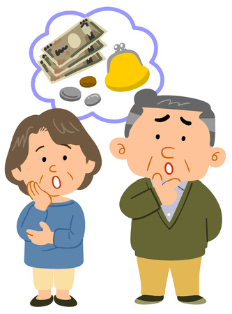 Senior couples money troubles whole body Ilustrace