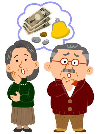 Senior couples money troubles whole body Illustration